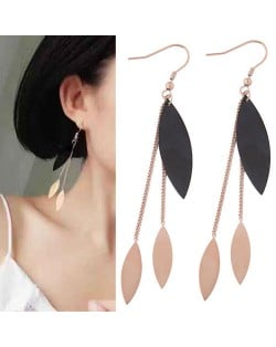 Dangling Leaves Tassel Design Women Stainless Steel Earrings