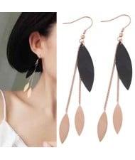 Dangling Leaves Tassel Design Women Stainless Steel Earrings
