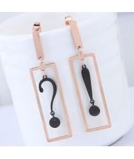 Punctuation Inlaid Dangling Oblongs Design Women Stainless Steel Earrings