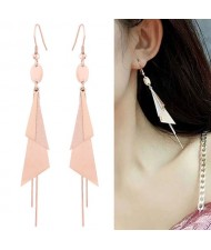 Graceful Triangles Combo and Tassel Design Dangling Fashion Women Stainless Steel Earrings - Golden