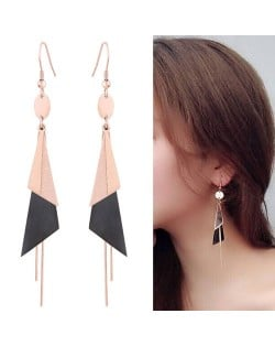 Graceful Triangles Combo and Tassel Design Dangling Fashion Women Stainless Steel Earrings - Black