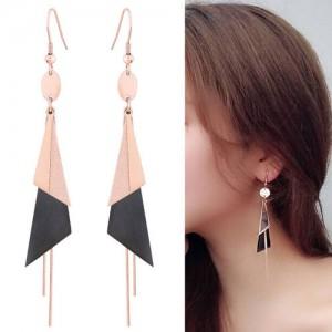 Graceful Triangles Combo and Tassel Design Dangling Fashion Women Stainless Steel Earrings - Black
