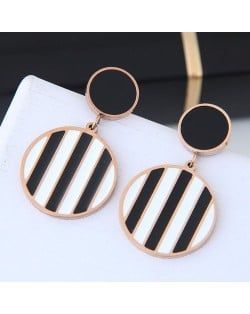 Black and White Stripes Design Round Pendant Women Stainless Steel Earrings