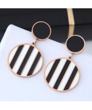 Black and White Stripes Design Round Pendant Women Stainless Steel Earrings