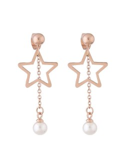 Dangling Pearl Tassel Design Star Fashion Stainless Steel Earrings