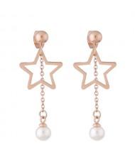 Dangling Pearl Tassel Design Star Fashion Stainless Steel Earrings