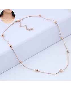 Beads Decorated Slim Style Sweet Fashion Stainless Steel Necklace