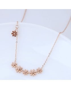 Sweet Tiny Flowers Design Women Stainless Steel Necklace