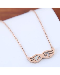 Angel Wings Pendant Cute Fashion Women Stainless Steel Necklace