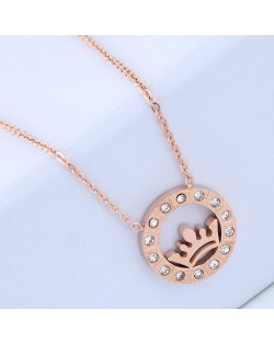 Rhinestone Embellished Crown Inlaid Round Pendant Women Stainless Steel Necklace
