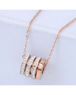 Rhinestone Decorated Shining Bead Pendant Women Stainless Steel Necklace