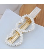 Artificial Pearl Fashion Women Hair Barrette - Twin Hearts