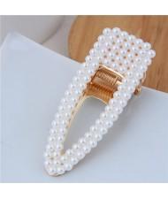Artificial Pearl Fashion Women Hair Barrette - Plain Style