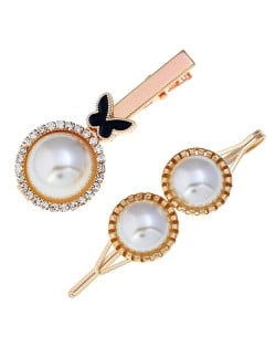 Butterfly and Artificial Pearl Fashion Women Hair Barrettes Combo - Black