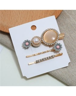 Shining Daisy Floral Design Resin Gems Inlaid Women Hair Barrette and Clips Combo - Gray