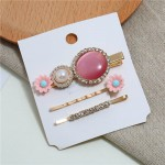 Shining Daisy Floral Design Resin Gems Inlaid Women Hair Barrette and Clips Combo - Pink