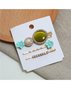 Shining Daisy Floral Design Resin Gems Inlaid Women Hair Barrette and Clips Combo - Teal