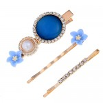 Shining Daisy Floral Design Resin Gems Inlaid Women Hair Barrette and Clips Combo - Blue