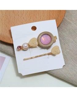 Gem Inlaid Elegant Korean Fashion Women Hair Barrette and Clip Combo - Pink