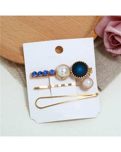 Rhinestone and Artificial Pearl Embellished Korean Fashion 3pcs Hair Barrette and Clips Combo - Blue