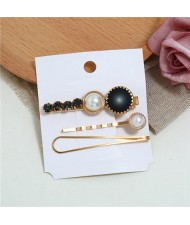Rhinestone and Artificial Pearl Embellished Korean Fashion 3pcs Hair Barrette and Clips Combo - Black