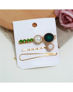 Rhinestone and Artificial Pearl Embellished Korean Fashion 3pcs Hair Barrette and Clips Combo - Green