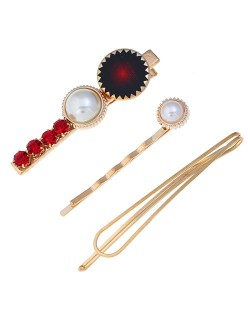 Rhinestone and Artificial Pearl Embellished Korean Fashion 3pcs Hair Barrette and Clips Combo - Red