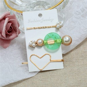 Graceful Heart Fashion 3pcs Hair Barrette and Clips Combo Set - Green