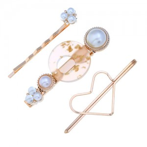 Graceful Heart Fashion 3pcs Hair Barrette and Clips Combo Set - Light Brown