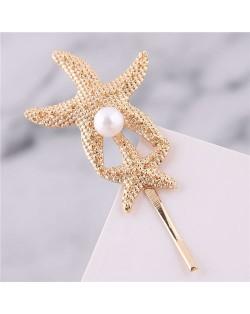 Golden Starfish Fashion Hair Clip