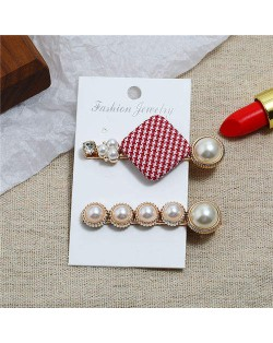 Small Lattice Pattern Cloth Square Decorated 2pcs Women Hair Clips Combo Set - Red