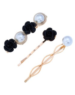 Korean High Fashion Rose and Pearl Style 3pcs Women Hair Barrette and Clip Combo Set - Black