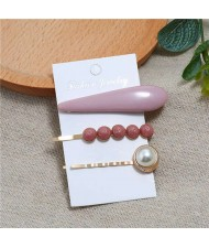 Bar and Pearl Korean Fashion 3pcs Women Hair Barrette and Clip Combo Set - Dark Pink