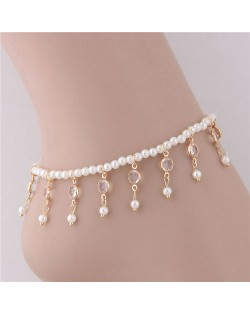 Pearl Tassel Design Graceful Fashion Women Anklet