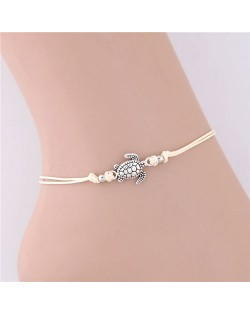 Turtle Pendant Rope Fashion Women Anklet - White