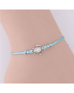 Turtle Pendant Rope Fashion Women Anklet - Sky Blue