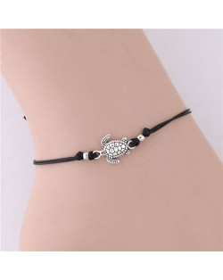 Turtle Pendant Rope Fashion Women Anklet - Black
