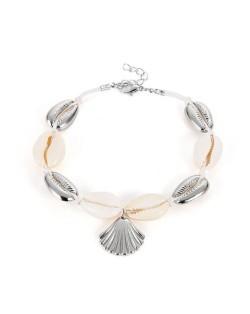Seashell Beach Fashion Folk Style Women Anklet - Silver