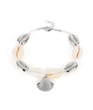Seashell Beach Fashion Folk Style Women Anklet - Silver