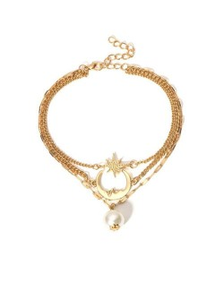 Moon Star and Pearl Pendants Triple Chains High Fashion Women Anklet - Golden