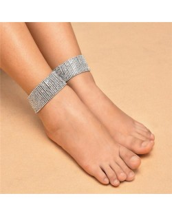 One-piece Rhinestone Embellished Shining Party Fashion Women Anklet - Silver