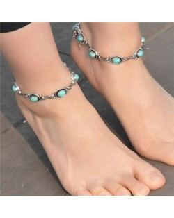 Turquoise Inlaid Vintage Fashion Women Anklet