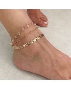 Fish Bone Design Chain with Crystal Decorated Multiple Layers Women Anklet - Golden