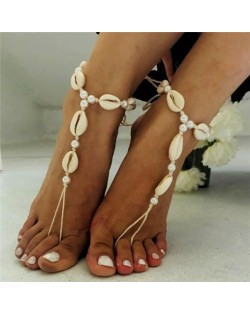White Seashell Handmade Beach Fashion Women Anklet (1pc)