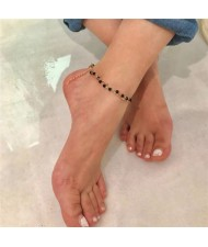 Black Beads Decorated Concise Fashion Women Anklet - Golden