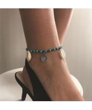 Seashell and Vintage Flower Pendant Turquoise Beads Fashion Women Anklet