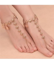 Vintage Style Coins Decorated Women Fashion Anklet - Golden