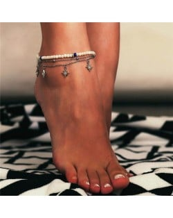 Rhinestone Embellished Stars Pendants Pearl Fashion Women Anklet