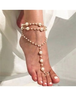 Pearl Fashion Multi-layer Design Beach Style Women Anklet