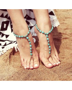 Artificial Turqoise Beach Fashion Elastic Style Women Anklet